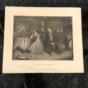 "Popping the Question - 6"" x 7"" - Antique Engraving"